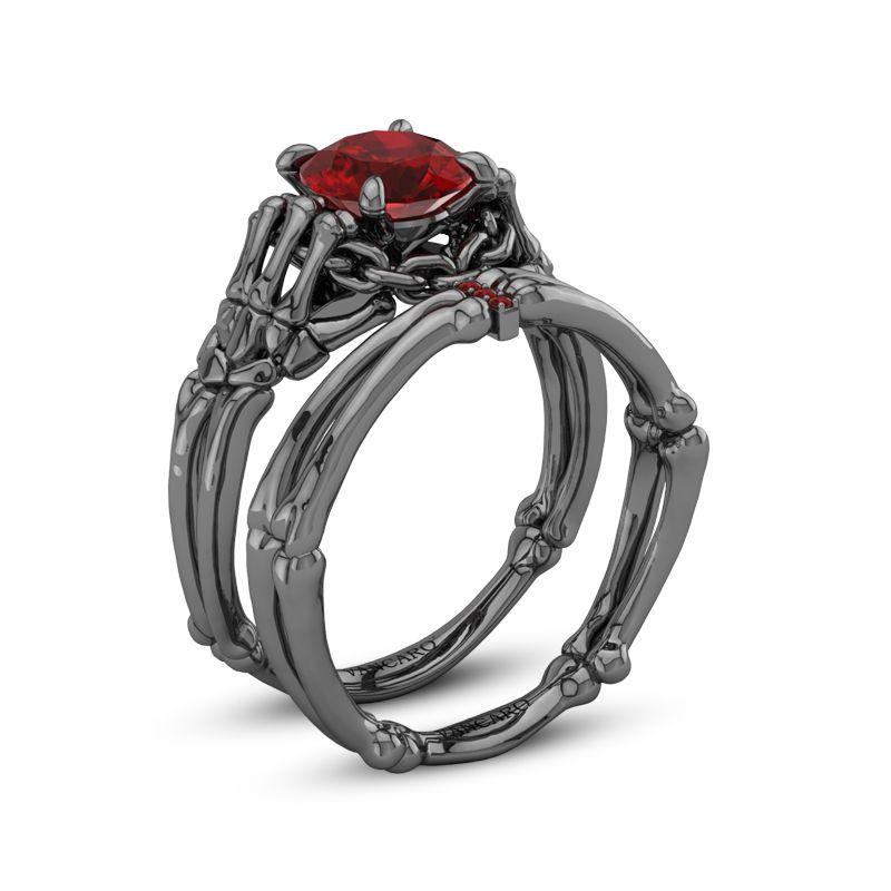 Gothic Style Black Skeleton With Ruby Stone Designer Ring Set Vancaro Gothic Engagement Ring Gothic Wedding Rings Black Wedding Rings