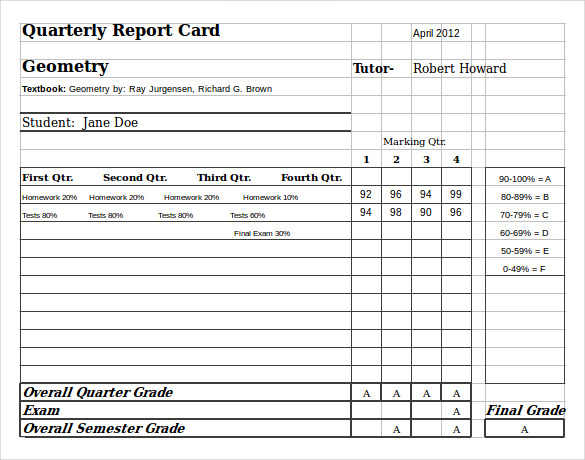 Homeschool Report Card Template 5 Templates Example Templates Example School Report Card Report Card Template Card Templates Free