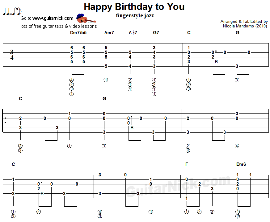 Happy Birthday Guitar Chords Tabs Notes Song Tune For Solo 2015 T