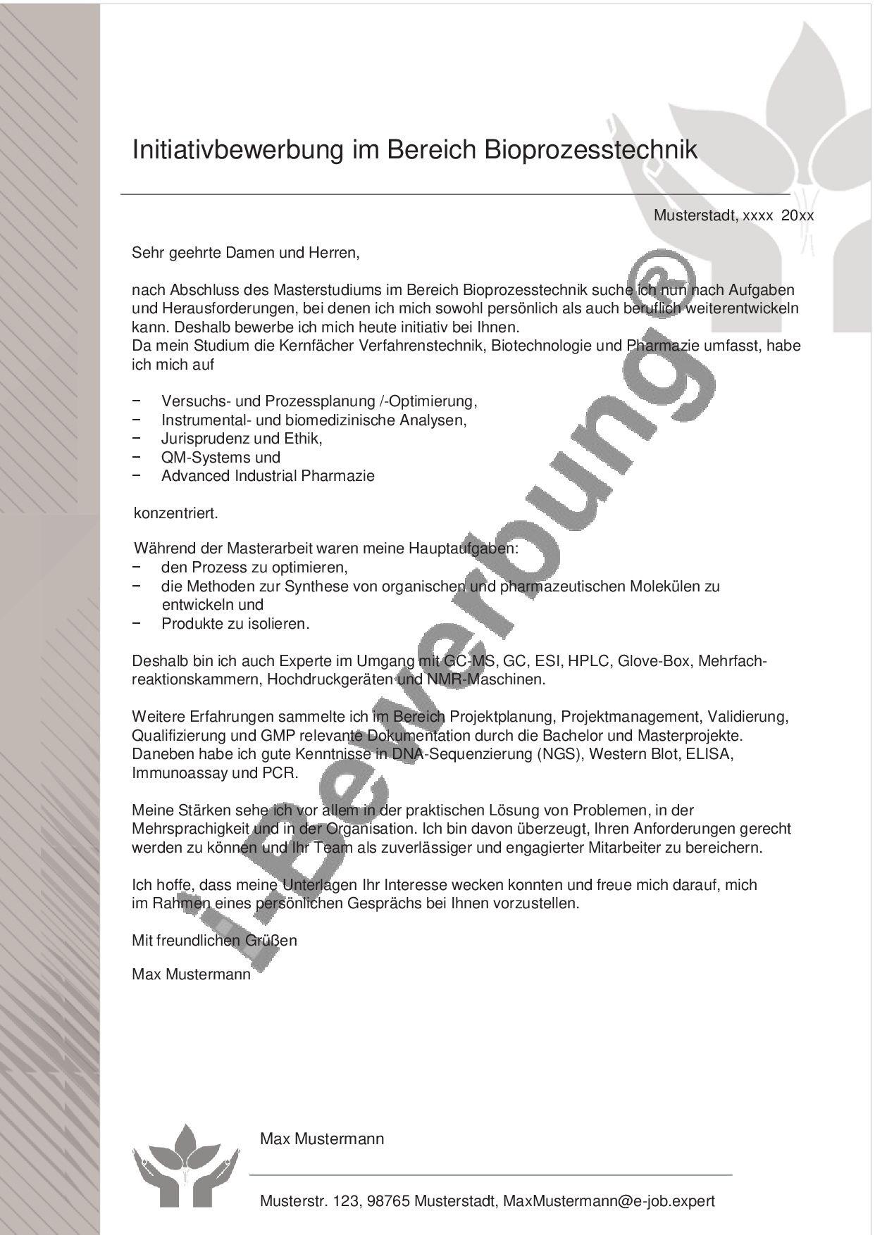 Anschreiben Muster Muster 560 Bioprozesstechnik Anschreiben Bewerbung Anschreiben Masterstudium