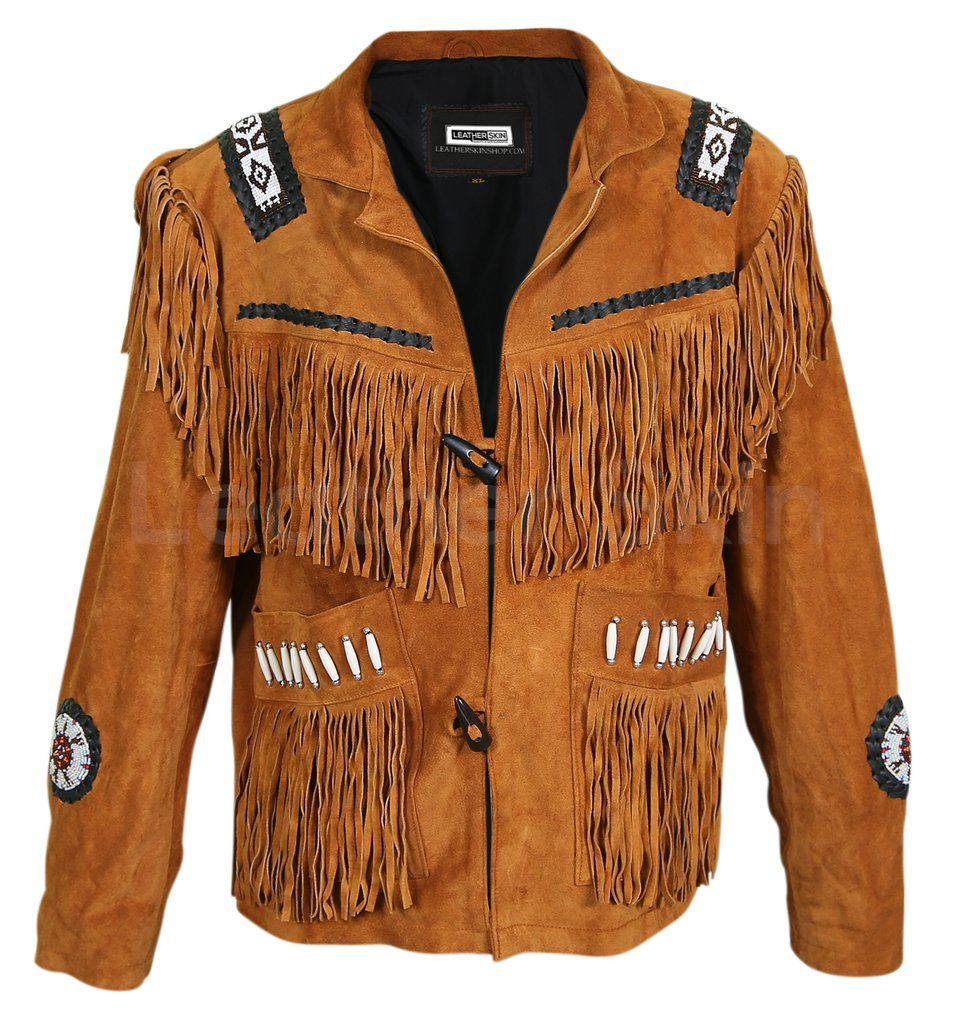 New Handmade Men's Western Style Suede Leather Jacket