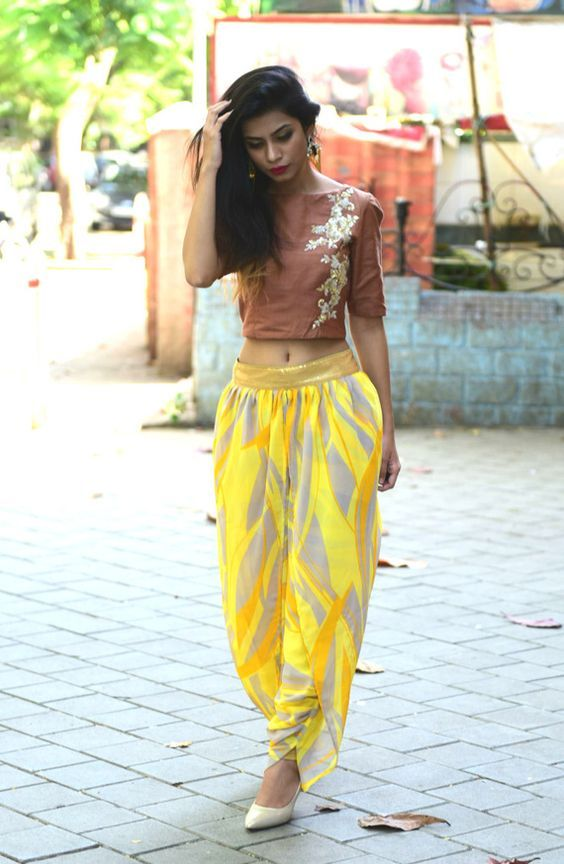 2c77a2a5381e3 Dhoti pant and crop top