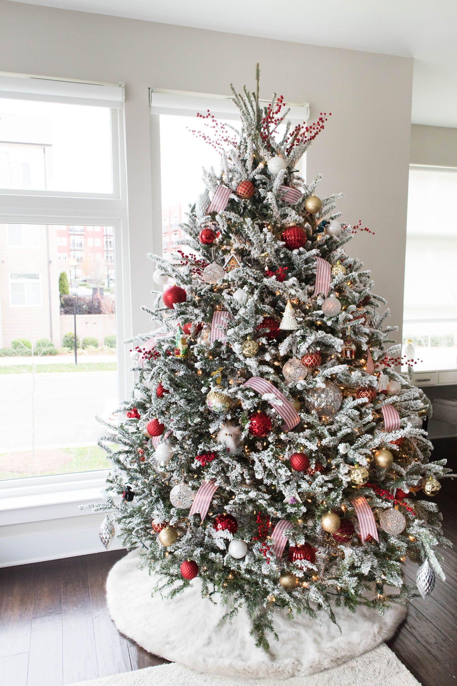 flocked christmas tree, holiday home decor Holiday home