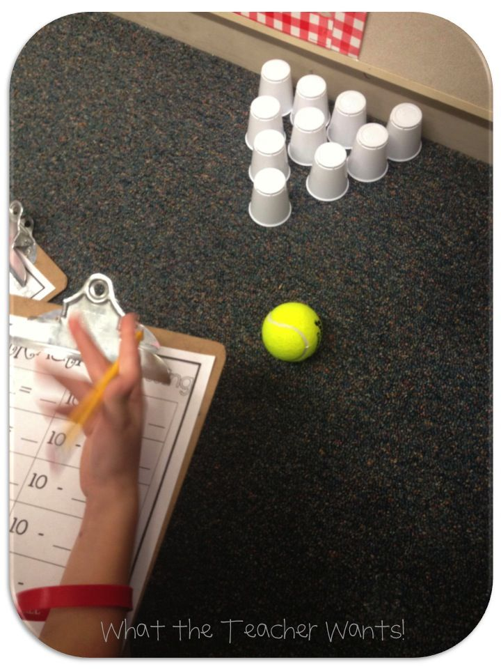 Subtraction bowling…fun & hands-on. Write friendly numbers on cups; students add for their starting number and use repeated subtraction by friendly number (the cups they knocked down) to calculate the amount that remains.