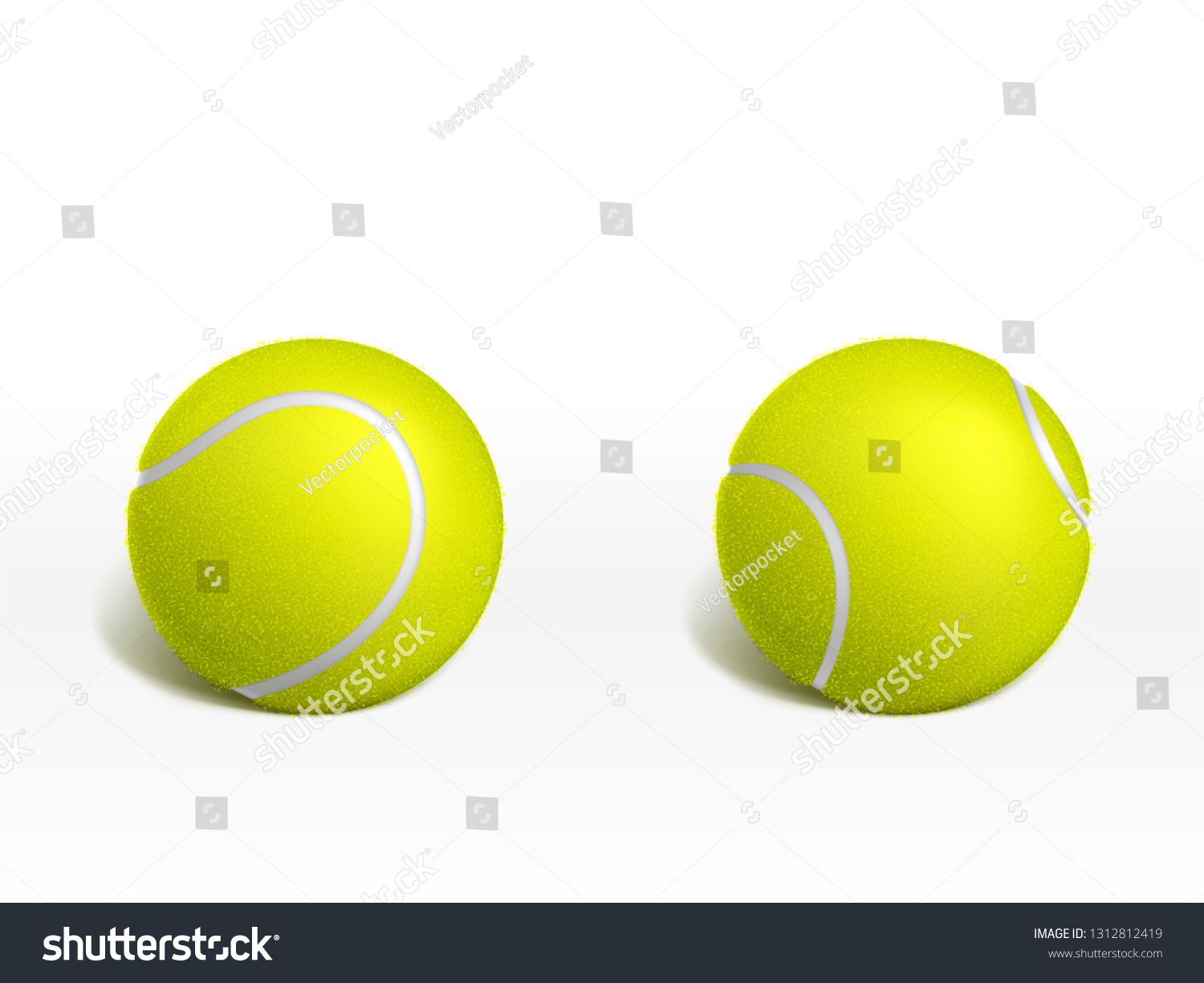 Two New Tennis Balls Lying On White Surface 3d Realistic Vector Illustration Racket Sport Inventory Or Equipment Icon T Tennis Balls Competition Games Tennis