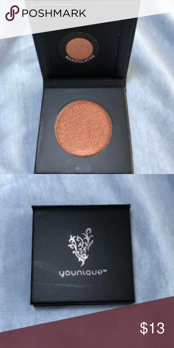 Just Arried-NEW Younique Shadow-MANIPULATIVE Just Arried-NEW Younique Pressed Shadow w/ compact-MANIPULATIVE NEW Younique moodstruck pressed shadows, from the single compact collection, one magnetic empty compact & one pressed shadow pan, but I popped this in so it's ready to go!!-MANIPULATIVE(metallic copper) This is good for highlighting!! Popular metallic color and simply stunning for the Seasons♥!! Younique Makeup Eyeshadow #youniquepressedshadows