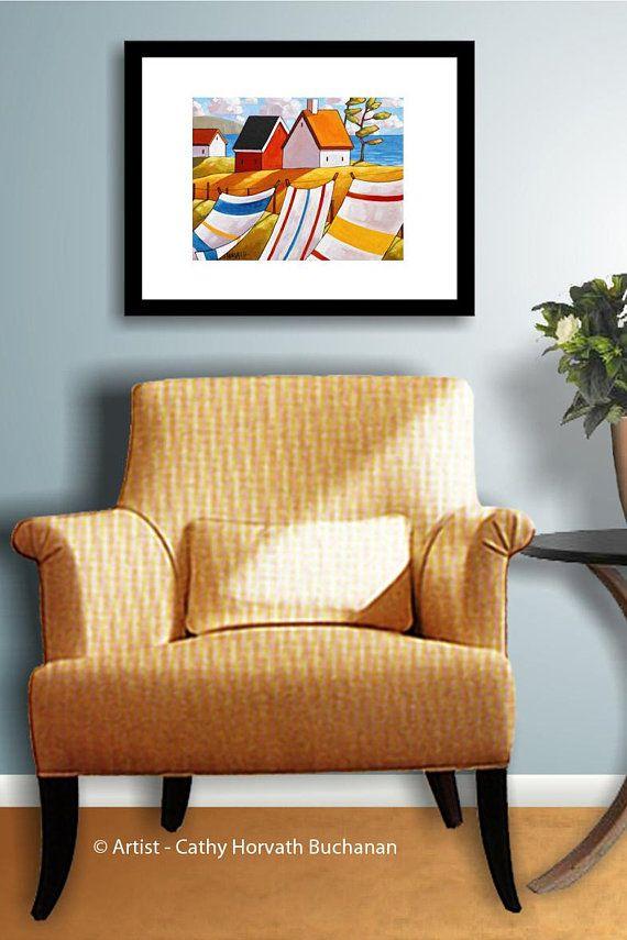 Coastal Cottages Seascape Art Print, Laundry Ocean Wind Summer ...