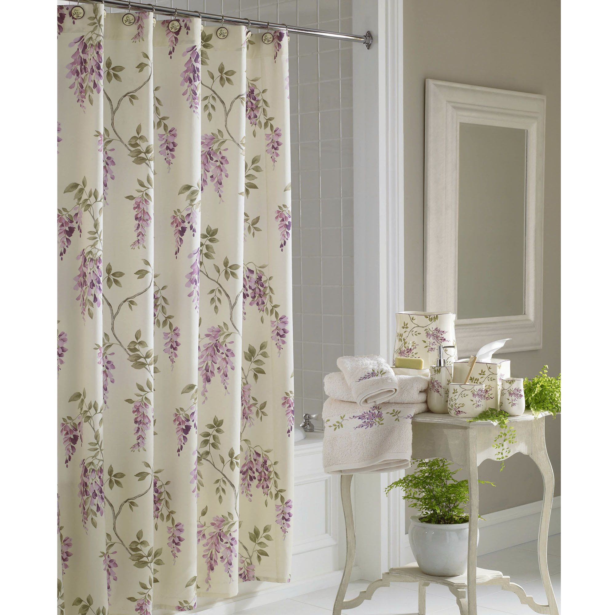 Wisteria Shower Curtain Ivory