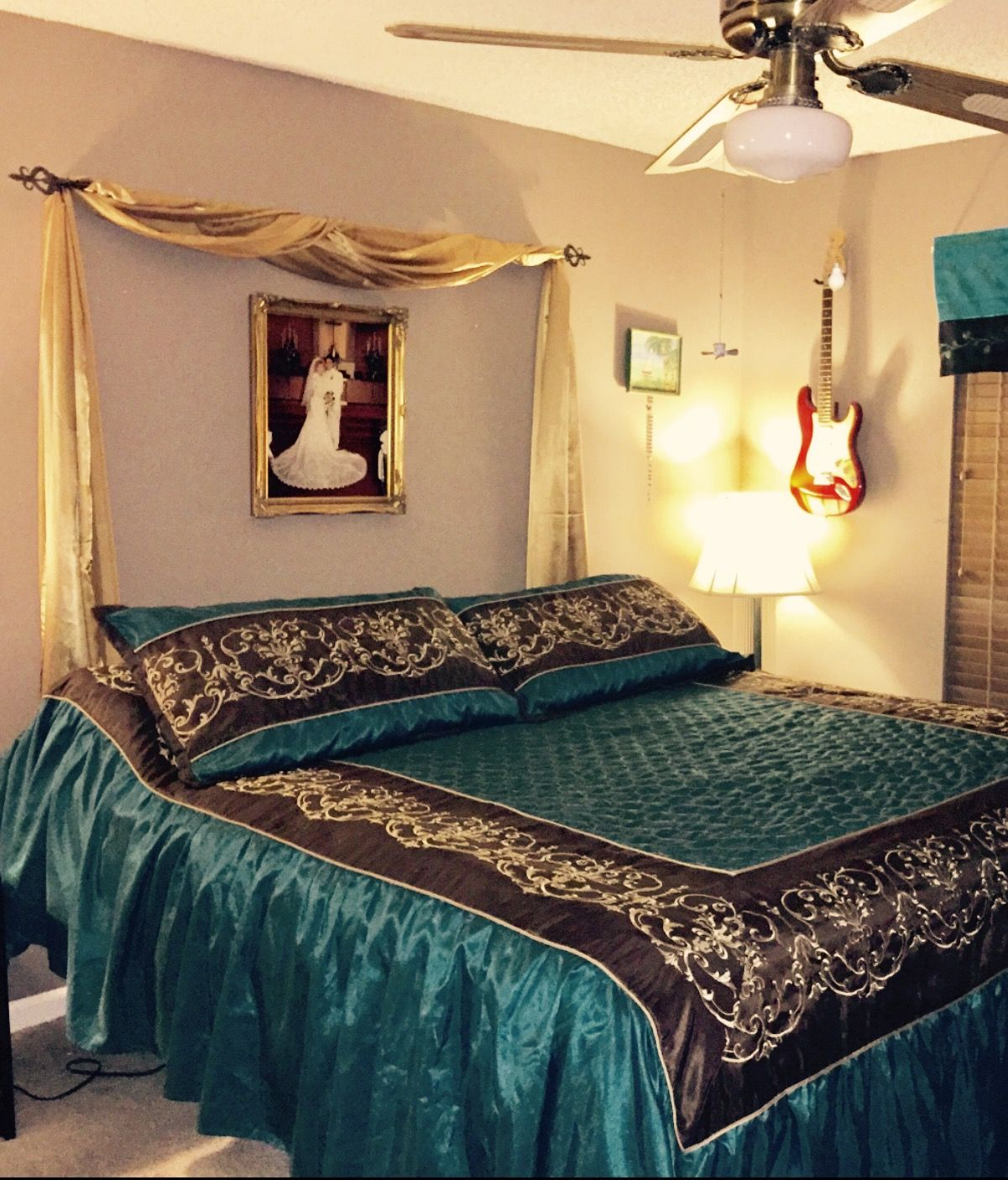 Add A Curtain Rod Over Your Bed And Drape A Scarf Over It For A