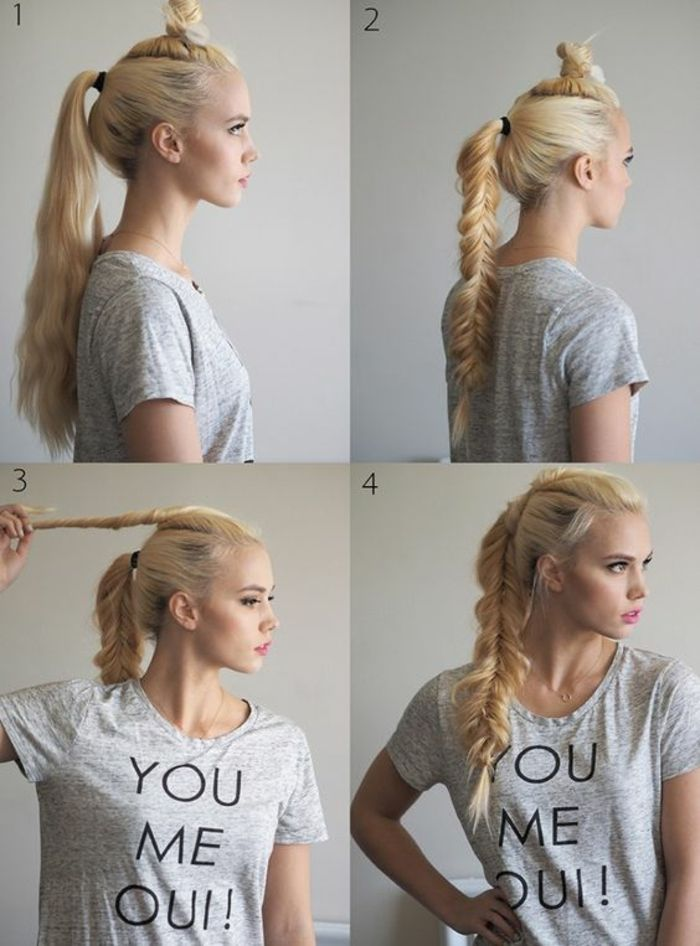 tresse viking, t shirt gris avec citation, chignon, cheveux blonds, queue de