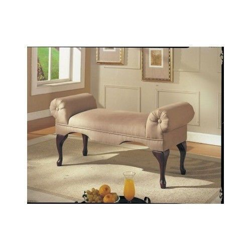 Microfiber Beige Rolled Arm Bench Settee Loveseat Bedroom Dining Lounging Window