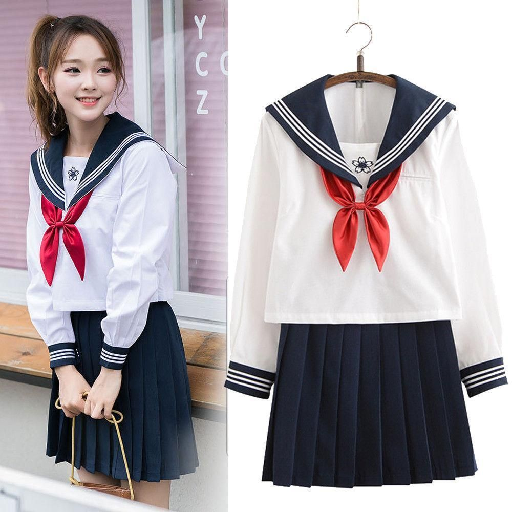 JK School Sailor Uniform Coat Blouse Skirt Tie Cosplay Costume Props Women Dress