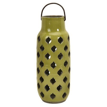 Openwork clay candle lantern.Product:  Lantern  Construction Material: Clay  Color: Green ...