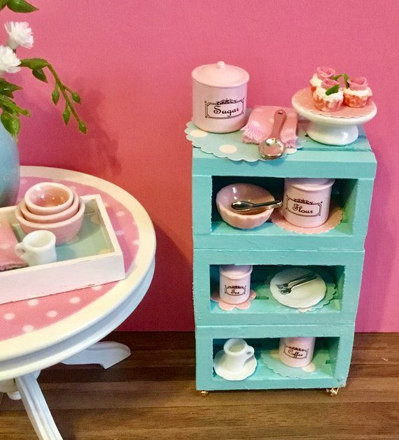 Cupcake Canisters For Kitchen: Dollhouse Miniature Teal Kitchen Cart On Casters