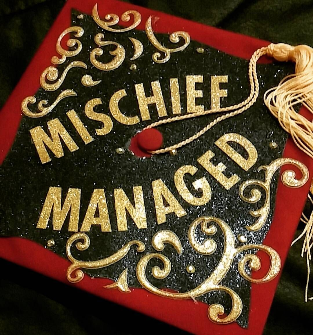 Instead Of Mischief I Ll Put Masters Totally Stole That Idea From An Old Friend Harry Potter Graduation Harry Potter Graduation Cap Graduation Cap Designs
