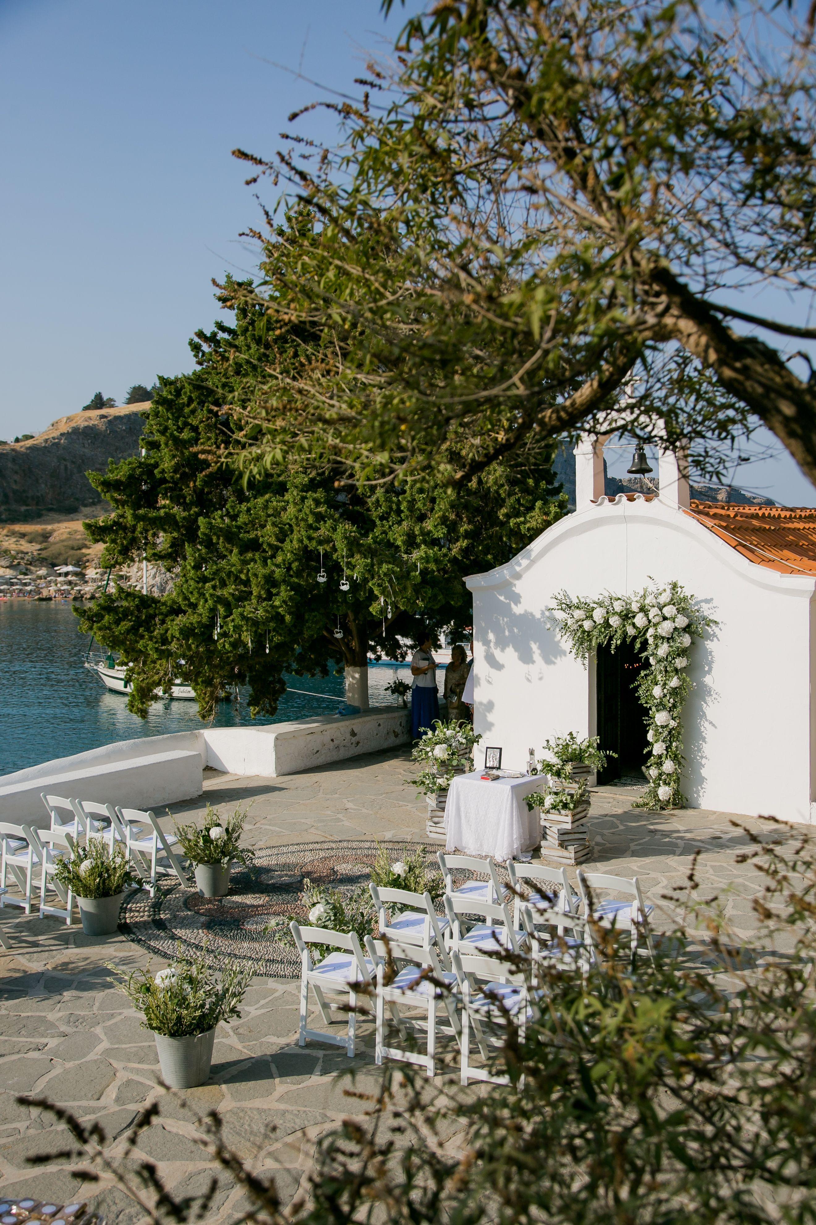 Greek Summer Wedding St Paul S Church In Lindos Rhodes