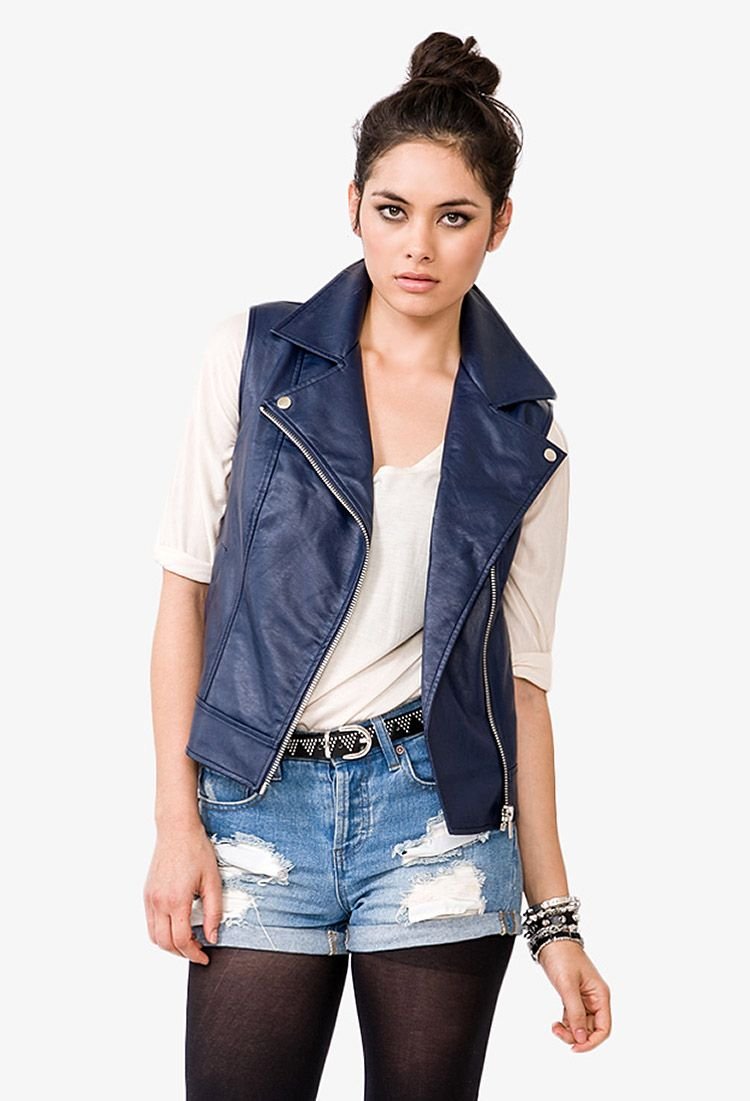 3245b2bb66 Faux Leather Moto Vest