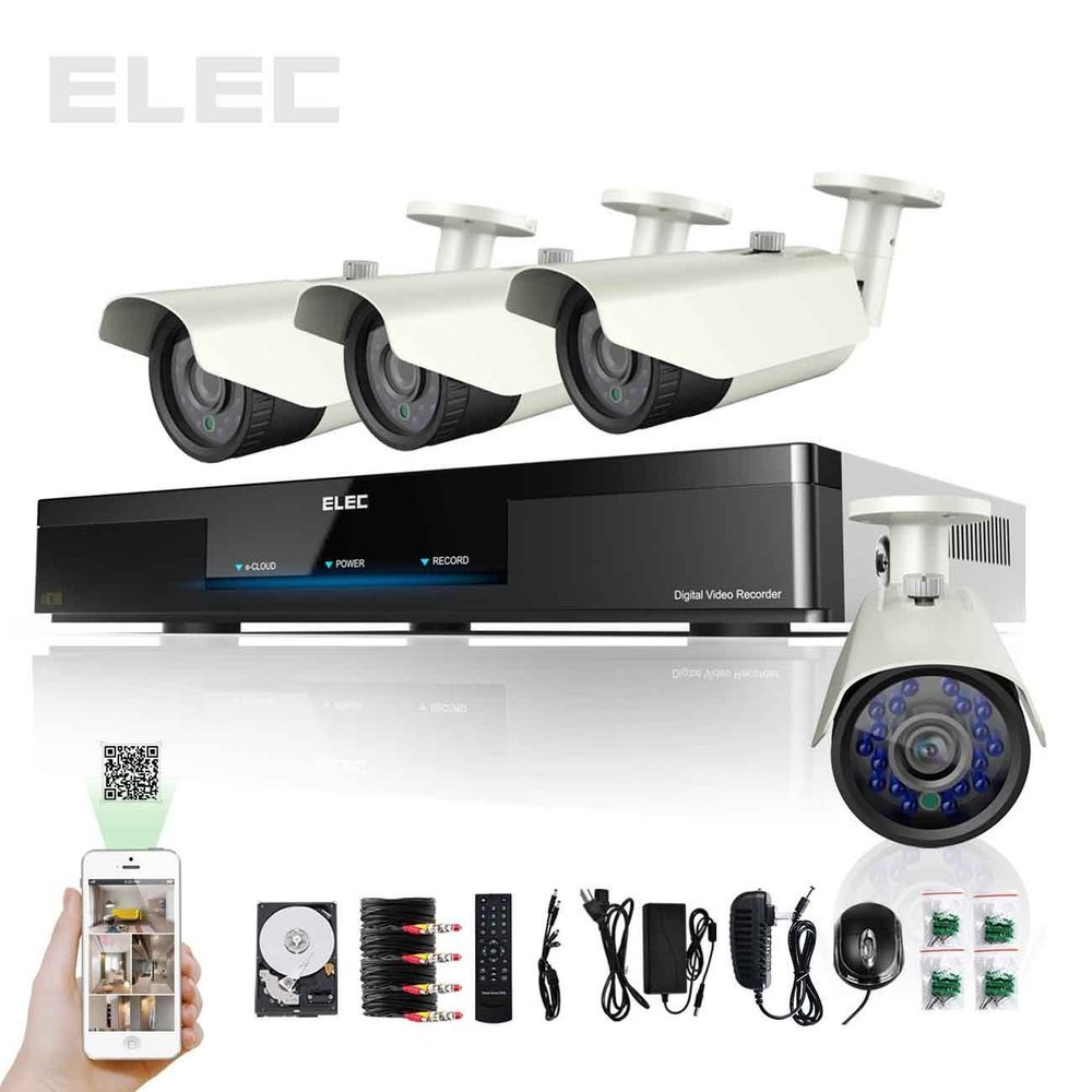 ELEC® Home Surveillance Security Camera System Kit 900TVL 4CH 960H ...