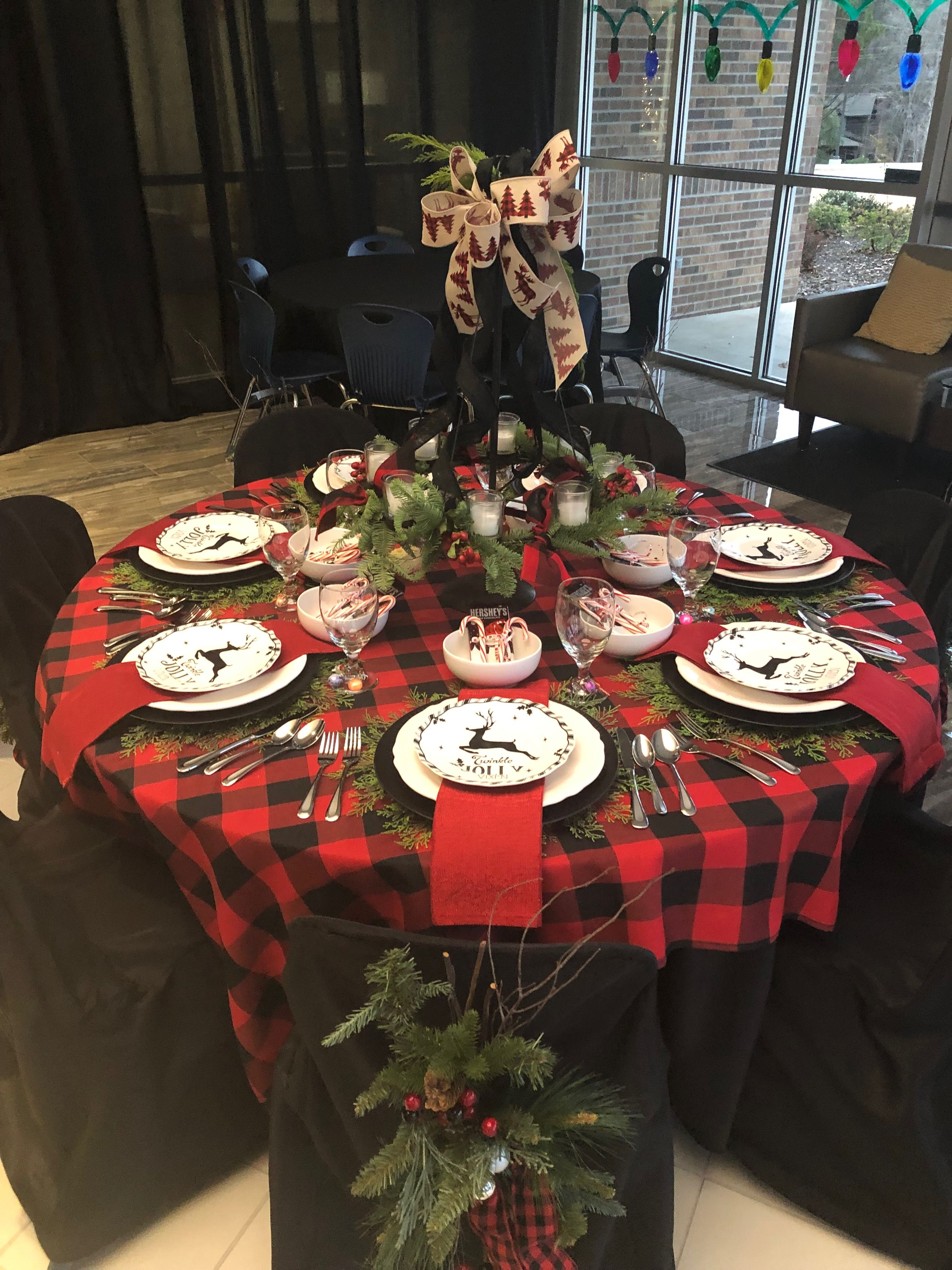 Christmas Banquet Table Buffalo Check Banquet Table Decorations