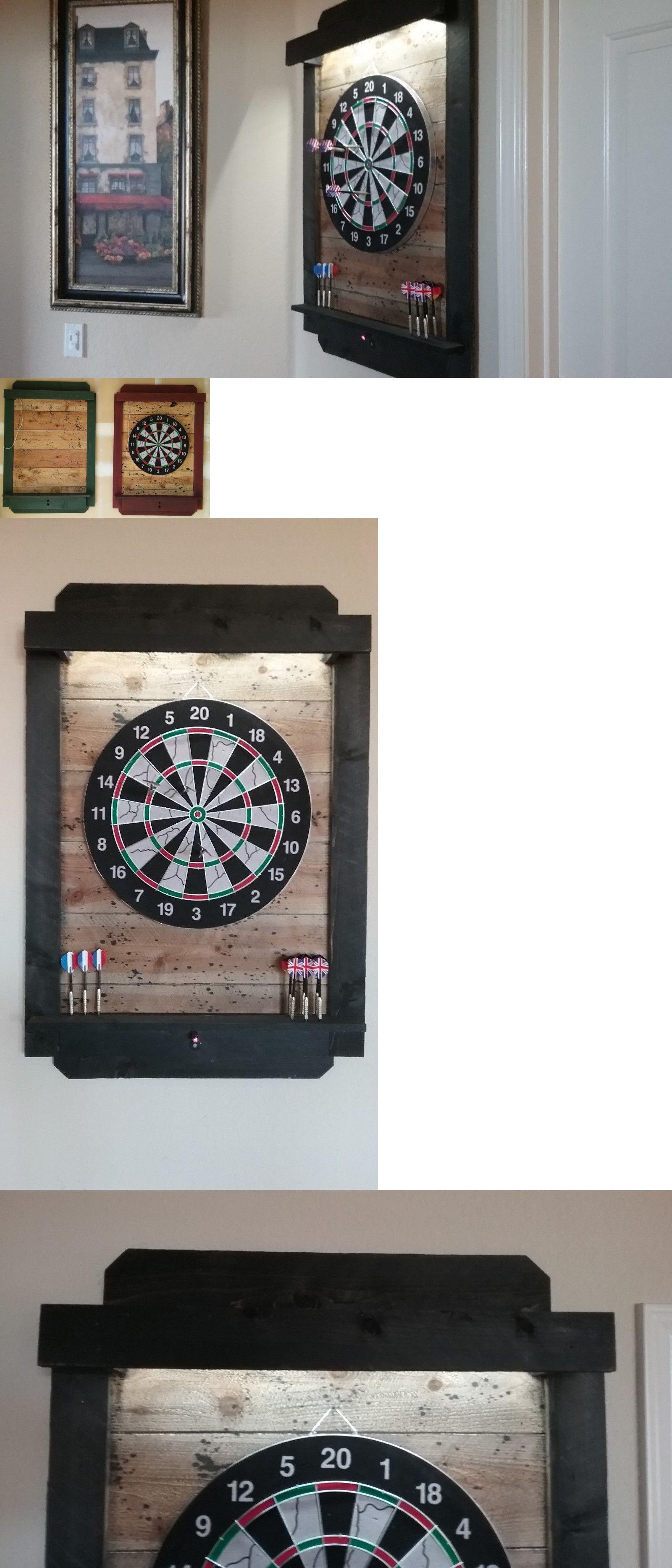 Dart Boards 72576 Dart Board Cabinet Dartboard Backboard Led