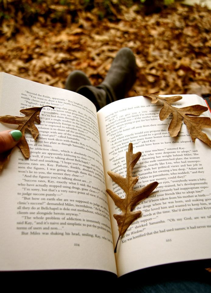 Leaves book falling