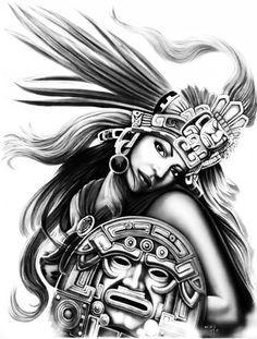 Aztec Warrior Tattoos Siluetadibujo A Lapiz Aztecas Dibujos