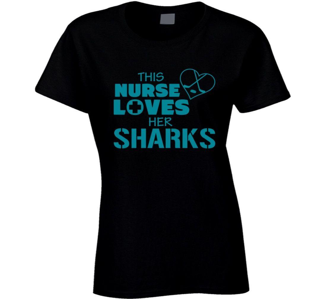 Lady's This Nurse Loves Her Sharks Hockey T-Shirt