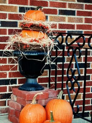 Pumpkins stacked - works from Halloween through Thanksgiving by jami
