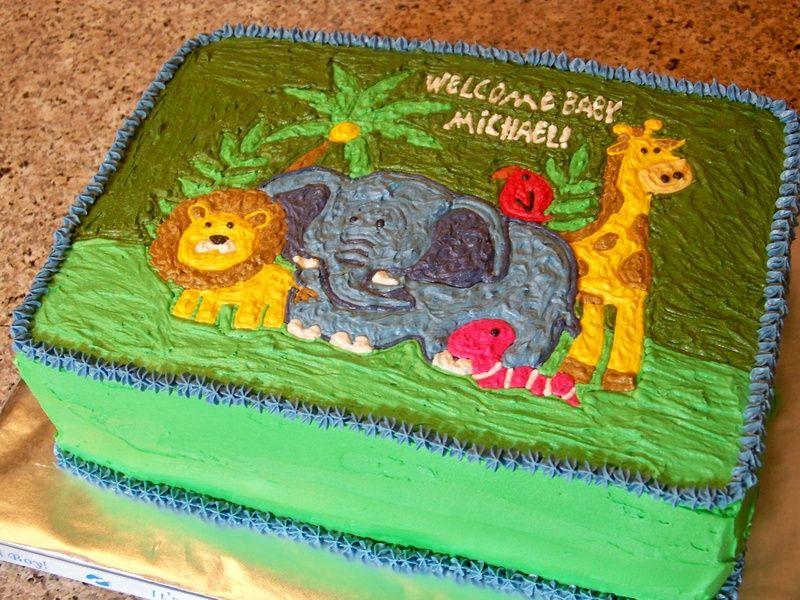 Jungle Themed Baby Shower Sheet Cake My Batter Half Bakery Baby