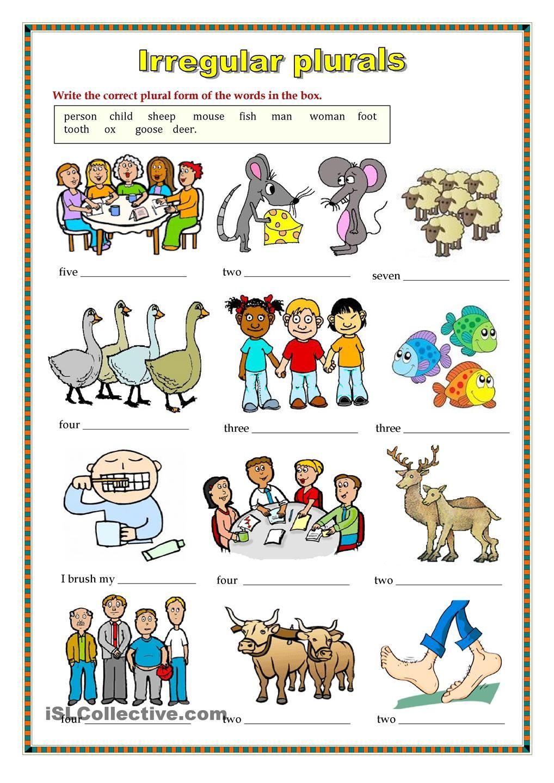 Irregular Plurals 2 Worksheet Ingles Basico Para Ninos Material Escolar En Ingles Vocabulario En Ingles Basico [ 1440 x 1018 Pixel ]