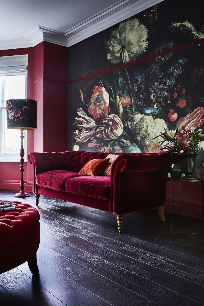 ▷ 1001 + modèles de papier peint tendance phares - deco salon rouge blanc noir