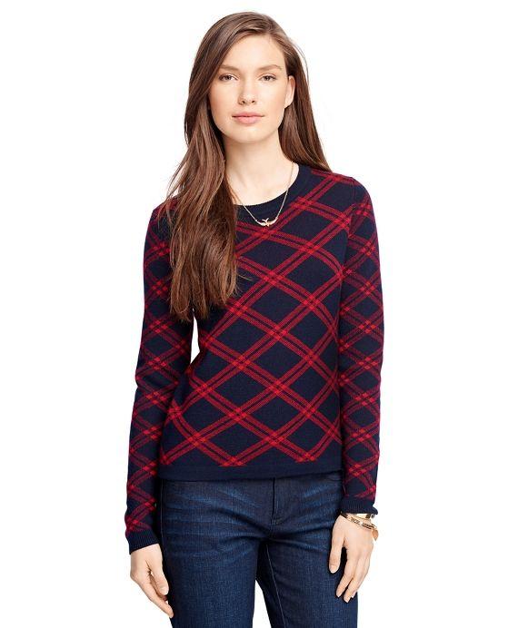 Merino Wool Windowpane SweaterNavy