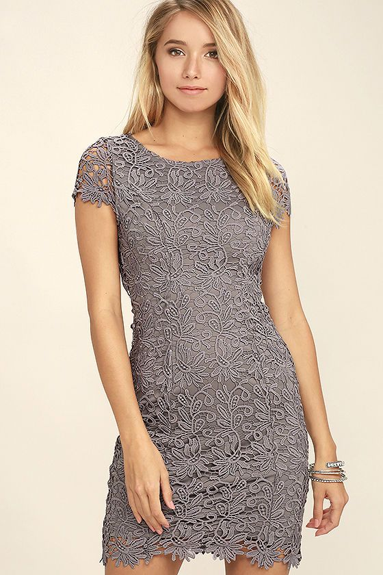 Hidden Talent Backless Grey Lace Dress | Lace dress, Bodycon dress ...