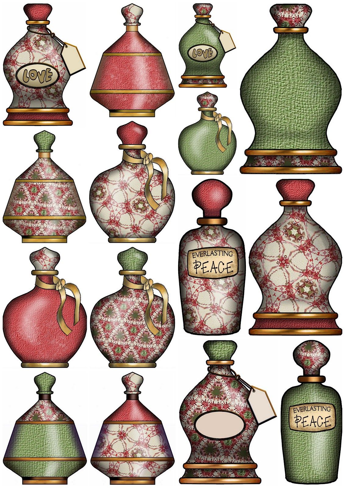 ArtbyJean - Paper Crafts: Digital Collage Sheets - CD #MM-025 - Red Green Needlepoint.