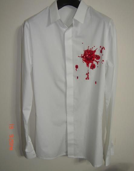 Dior Homme by Hedi Slimane SS 2002,  SHIRT WITH SEQUINNED AND BEADED  BLOODSTAIN  50b0089f8bd