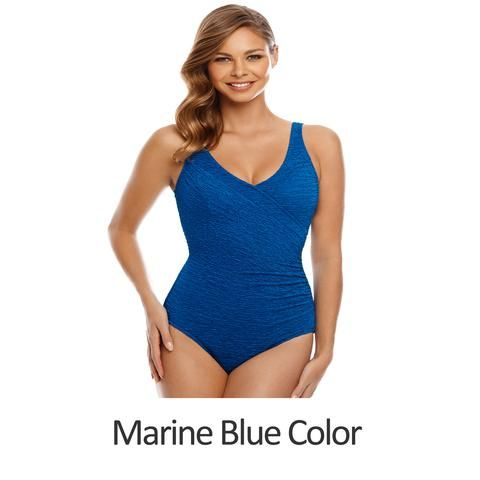 863c879b6 Chlorine Resistant Swimsuits - Plus Size Swimwear - Krinkle Polyester  Surplice Plus Size Swimsuit - 2 COLORS