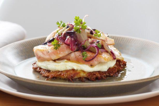 Salmon, fennel, ricotta cream and rosti stacks main image
