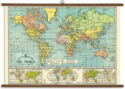 This vintage style world map is reminiscent of old school classroom ...