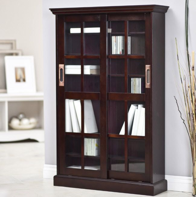 Bookcase Glass Doors Media Cabinet Espresso Display Storage Shelves
