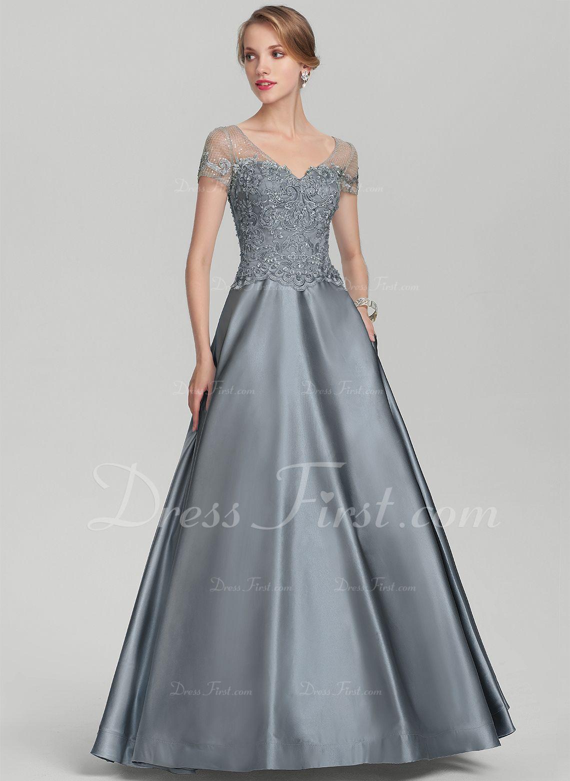 A-Line/Princess V-neck Floor-Length Beading Sequins Zipper Up ...