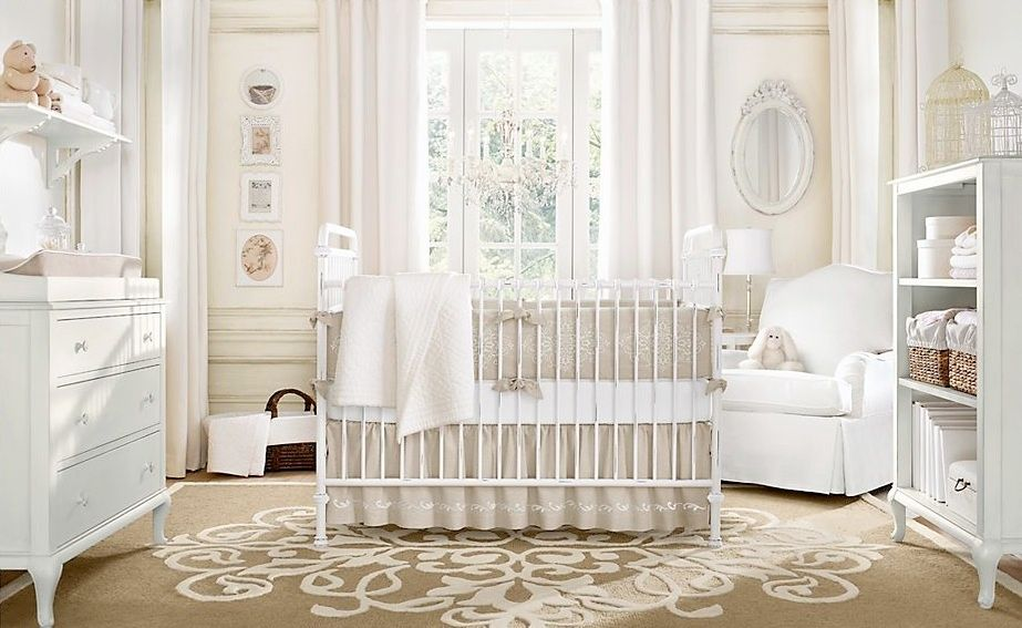 Elegant Traditional Nursery With Serena And Lilly Hudson Crib, Pottery Barn Kids  Nursery Bedding, Crown