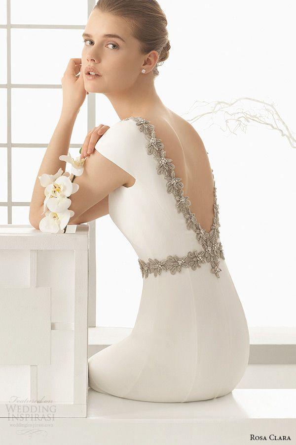 0ad4dca0 rosa clara 2016 bridal collection bateau neckline short sleeves clean  simple white sheath wedding dress denise v low cut back zoom
