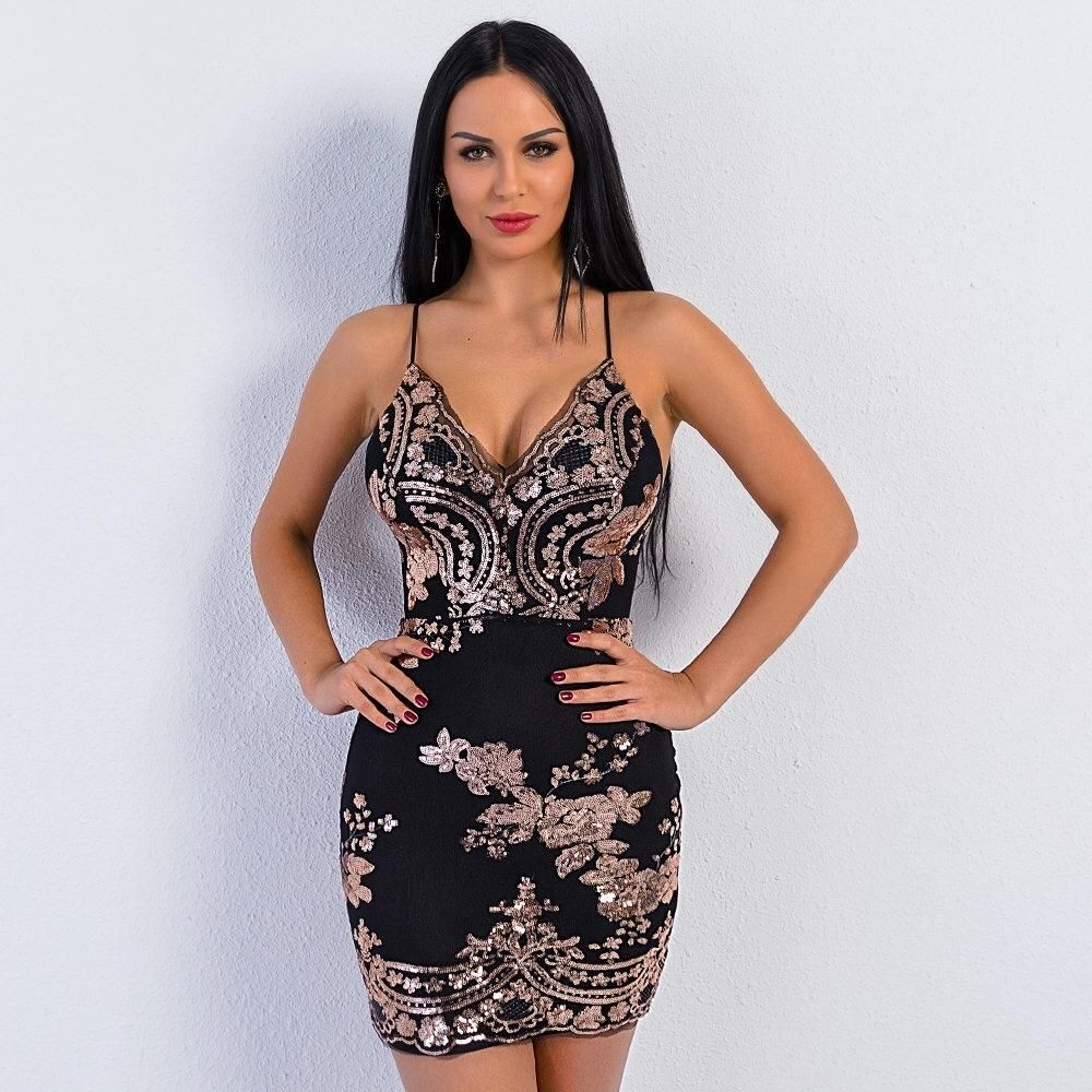 13b6eee76a Rose gold is our favourite way to sparkle at the moment and this Black  sequin mini dress is such a beaut! With all over rose gold sequin detail