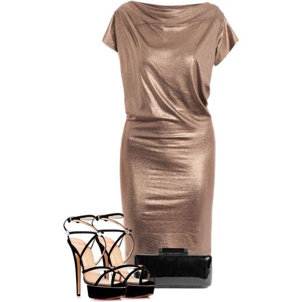 Gold Metallic Dress w/ Strappy Heels by sarratori on Polyvore featuring Mode, Vivienne Westwood Anglomania, Charlotte Olympia, Diane Von Furstenberg, box clutches, metallic dresses, dresses, strappy heels, tight dresses and clutches