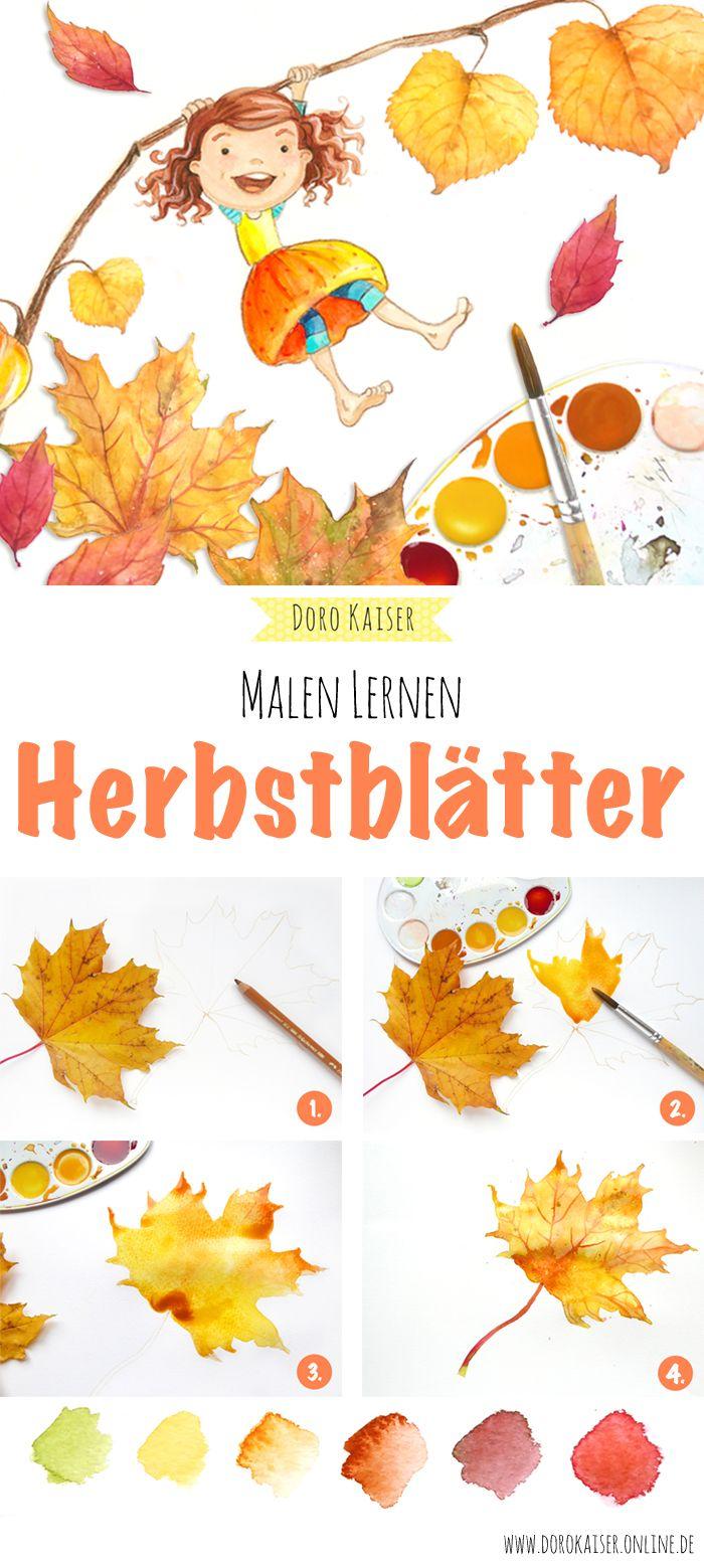 Malen Lernen Herbstblatter Mit Aquarellfarben Malen Art