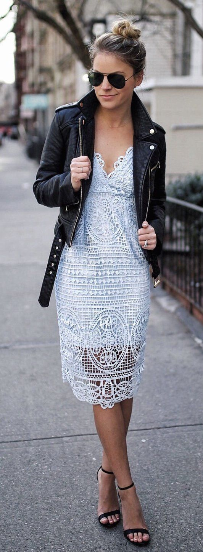 #spring #fashion  Black Leather Jacket & White Lace Dress & Black Sandals