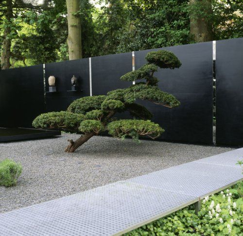 Wu0026E: Minimalist, Simple   Like The Pebbles, Bonsai And Black Fence Boards  (perhaps Use A Variant Of This Against House?