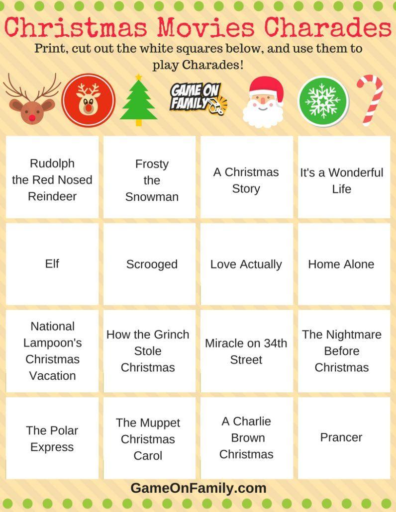 How To Play Christmas Charades Free Printable Games Game On Family Christmas Charades Christmas Charades Game Christmas Charades Printable