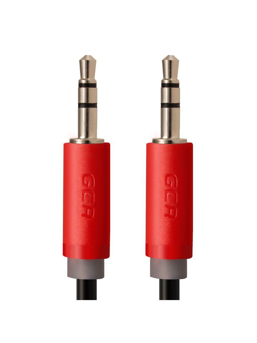 Кабели GCR Кабель аудио 0.15m jack 3,5mm/jack 3,5mm черный, красные коннекторы, 28 AWG, AM/AM, экран, стерео