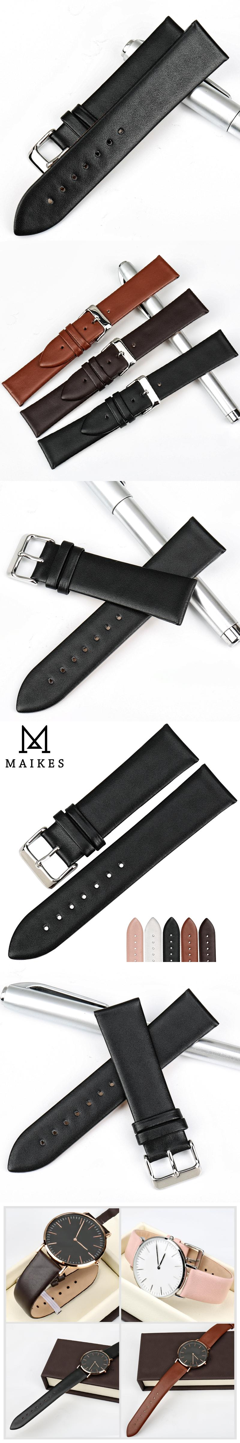28b6f045507 MAIKES New Watch Accessories Thin Watchbands 16 18 19 20 22 mm Genuine  Leather Watch Strap